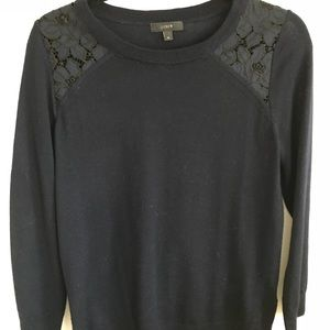 JCrew Womens Tippi Sweater with lace detail